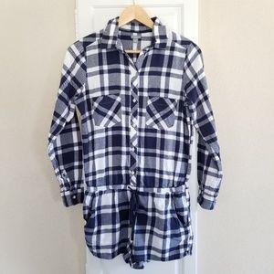 Aerie Blue Plaid Flannel Romper Pajamas PJs size M